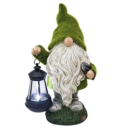 TERESA'S COLLECTIONS Solar Garden Ornaments Outdoor, 33cm Flocked Gnome Figurine with Hanging Solar Lantern Garden Statue, Waterproof Resin Dwelling Ornament for Yard Lawn Fall Decorations and Gift