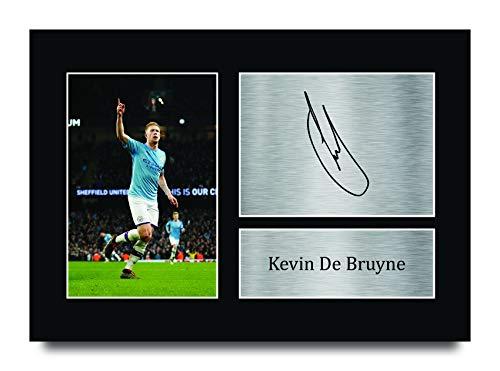 HWC Trading Kevin De Bruyne A4 Sin Marco Regalo De Visualización De Fotos De Impresión De Imagen Impresa Autógrafo Firmado por Manchester City Los Aficionados Al Fútbol