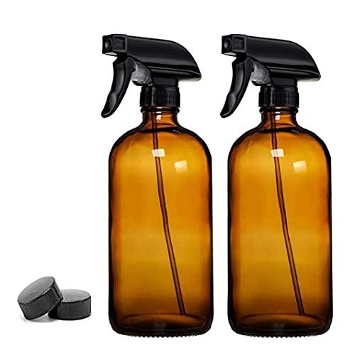 XKJFZ Vacío de Cristal del Aerosol Botella de Aceite Esencial Recargable Atomizador Sala de Agua Estropajo de contenedores Spritzer Atomizador 500 ml Dispensador 2 Piezas de ámbar