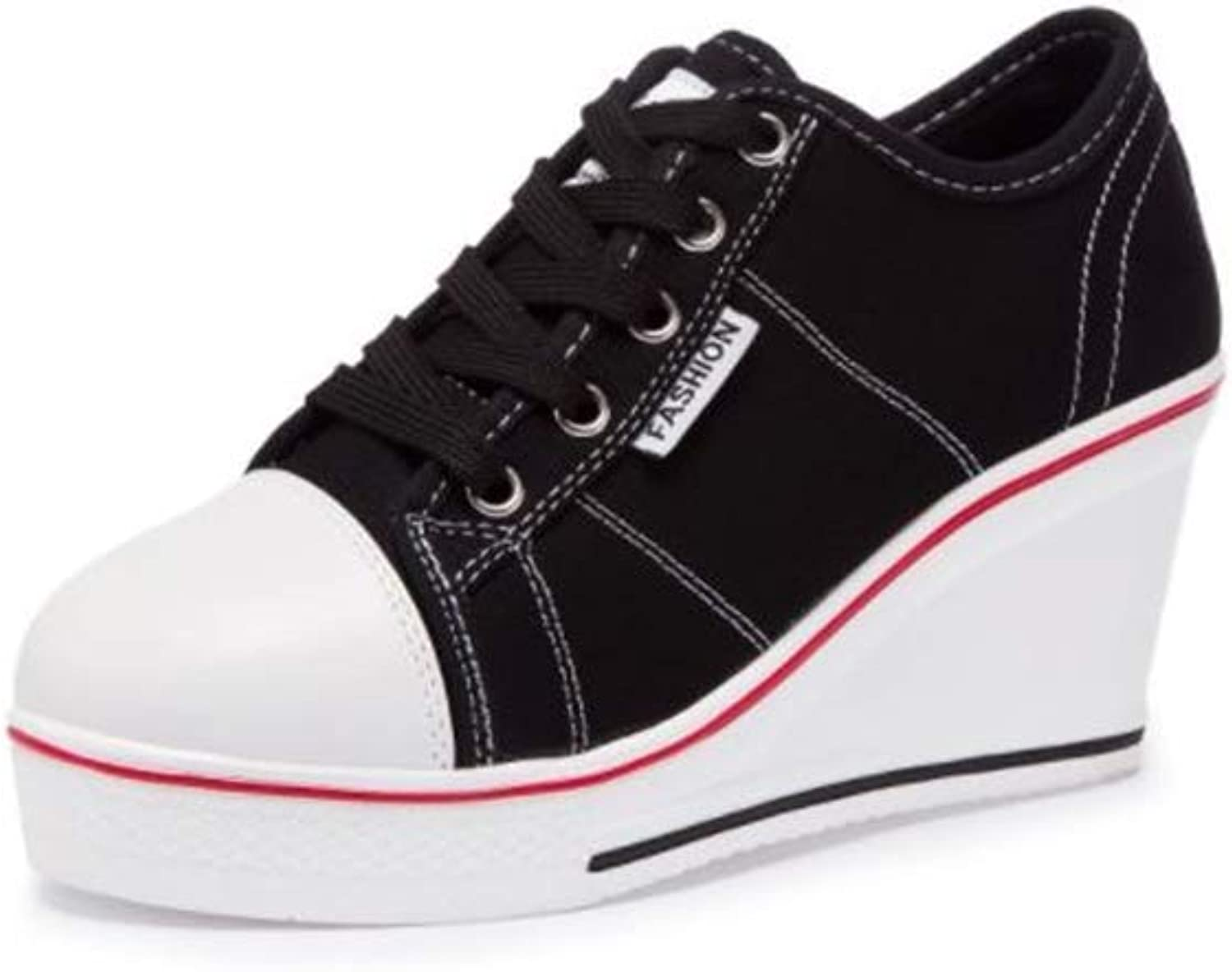 Women's Casual Canvas Wedges shoes Mid Heels Lace up Fashion Sneakers