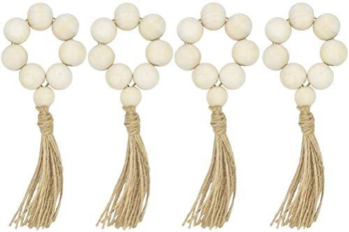 LIOOBO 8pcs Wood Bead Garland with Tassels Farmhouse Beads Rustic Country Decor Prayer Beads Wall Hanging Decor Napkin Rings Weddings Home Decor