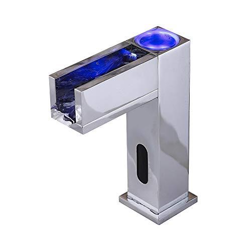 pedkit - Sensor automático Touchless 3 Colores LED Grifo Sensible a la Temperatura Baño Grifo de Lavabo Grifo de Cascada Caño de latón con Acabado Cromado