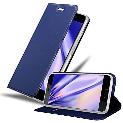 Cadorabo Hülle für HTC U Play in Classy DUNKEL BLAU - Handyhülle mit Magnetverschluss, Standfunktion & Kartenfach - Hülle Cover Schutzhülle Etui Tasche Book Klapp Style