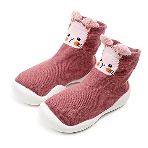 NIDONE bebé Zapatillas Calcetines de Dibujos Animados Antideslizante Suela Gruesa ejecutivos Primeros Calcetines Zapatos Que Caminan de los 6-36M del niño Rosa
