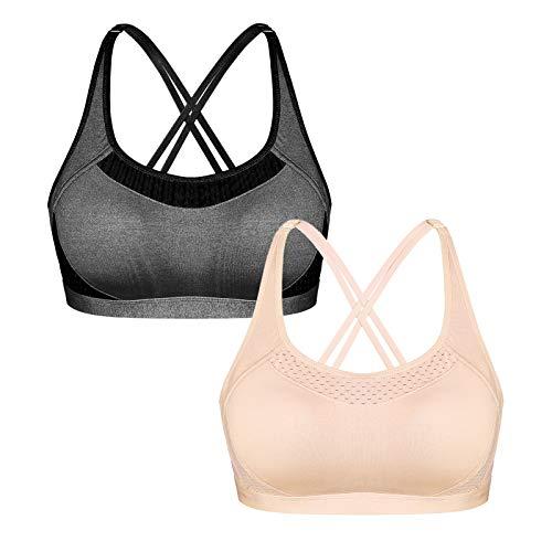 Sykooria Sport BH Damen Frauen Bustier Gekreuzt Rücken ohne Bügel Lauf Fitness Yoga Bequem Bra