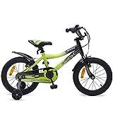 Byox Bicicletas niño Fusion 16 Pulgadas Verde, Ruedas de Apoyo, Campana con Marco de Aluminio