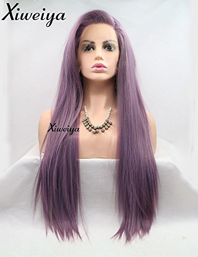Xiweiya Purple Synthetic Lace Front Wig For Women Long Straight Hair Side Part Lavender Wig Heat Resistant Cosplay Wig Party Wig Girl Full Wigs…