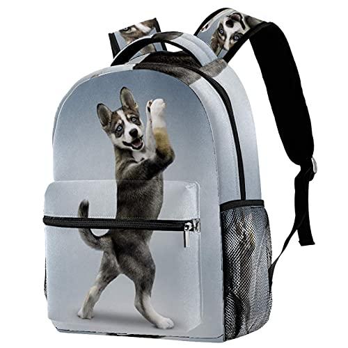 Yuanmeiju Cute Yoga Dog School Mochila Book Bag Travel Daypack para Hombres Mujeres