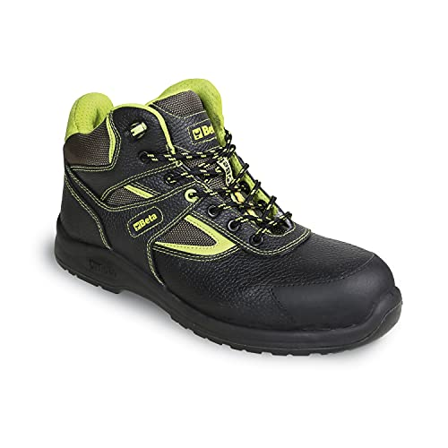Beta Zapatos de seguridad para mujeres y hombres, zapatos de trabajo de cuero con cordones y gorra protectora (repelente al agua y fácil de quitar), negro / verde, 42 EU