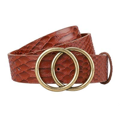 beizi Cinturones para mujer de moda con doble hebilla de cuero para pantalones vaqueros (longitud del cinturón: 95 cm, color: marrón serpiente)
