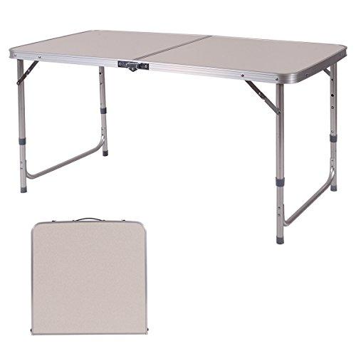 DREAMADE Alu Klapptisch, Gartentisch Campingtisch Falttisch, Mehrzwecktisch Flohmarkttisch Markttisch Multifunktionstisch, Esstisch Tapeziertisch höheverstellbar, 120 x 60 cm, Weiß