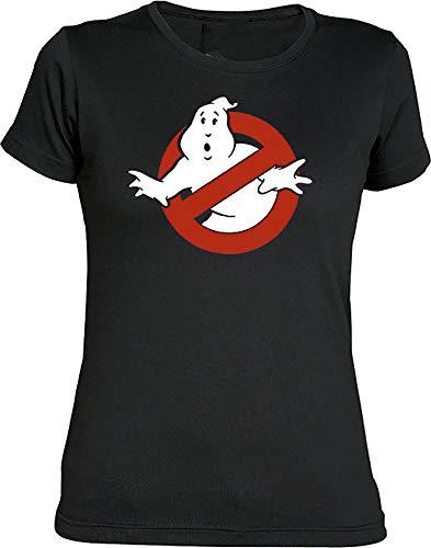 Camisetas EGB Camiseta Chica Cazafantasmas ochenteras 80´s Retro (M, Negro)