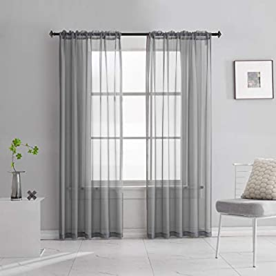 TOAVA DECO Sheer Voile Curtains Translucent Solid Color Window Treatment 95 Inches Long Panels Rod Pocket Grey Drapes for Bedroom Living Room Kitchen 2 Panels 52x95