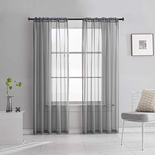 Grey Sheer Voile Curtains Translucent Solid Color Window Treatment 84 Inches Long Panels Rod Pocket Charcoal Grey Sheer Curtains for Bedroom Living Room 2 Panels 52x84 Gray