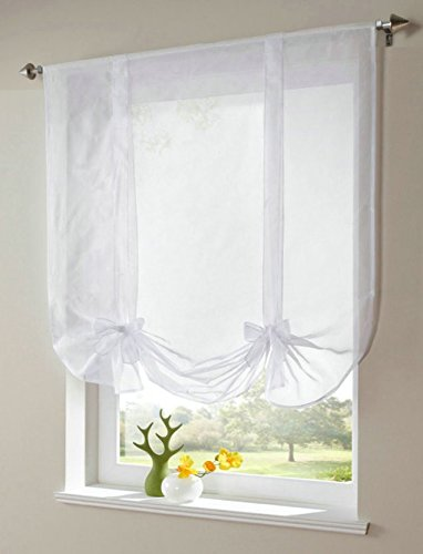 WPKIRA 1 Panel Ribbon Tie Up Solid White Roman Curtain Transparent Sheer Voile Balloon Shades with Solid Stripes Lift Sheer Curtain Drapes Voile Valances Cafe Kitchen W39 x L55 Inch