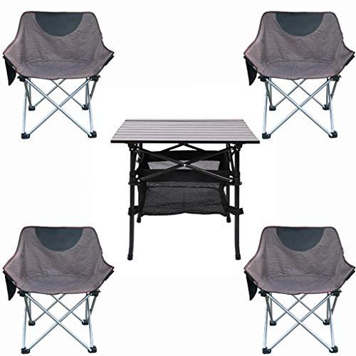 DX Table de Camping Ensemble de chaises de Pliantes Portables, Table de Pique-Nique extérieure de 5 pièces et chaises pour Jardin intérieur Gris