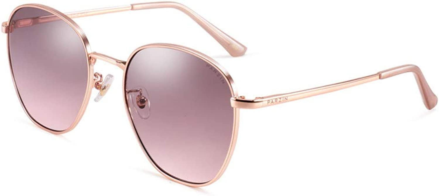 Fashion Sunglasses Female Metal Round Frame Nylon Trend Sunglasses With Clothes gold Frame Through Tea color Lens