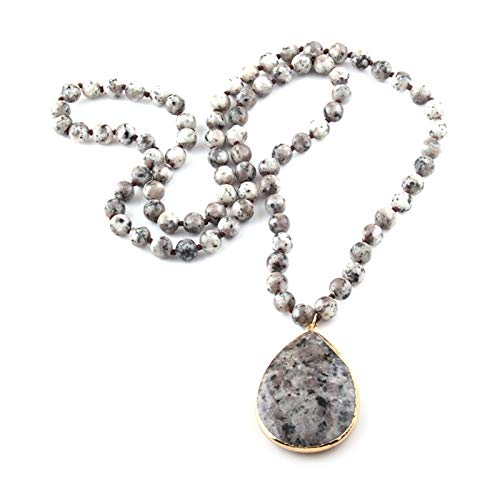 JWWLLT Fashion Bohemian Jewelry Piedra Natural Piedra Nudo Piedra Cojinete Collares Collares Collares con Cuentas (Length : 130cm, Metal Color : Gray Dot)
