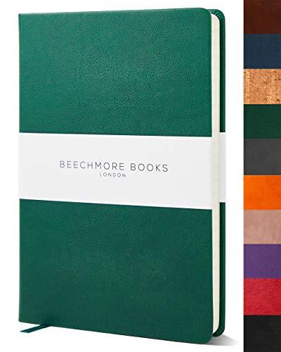 Liniertes Notizbuch - Premium A5 Journal von Beechmore Books | Festeinband aus veganem Leder, Dicke: 120 g/qm cremefarbenes Papier, Notizbuch in der Geschenkbox, 21 x 15 cm Dartmouth Grün