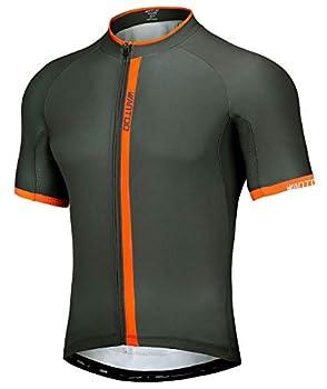 Wantdo Men s Cycling Jerseys Short Sleeve Full Zip 3 Rear Pockets Mountain Bike Jersey Reflective Quick Dry Grey Orange