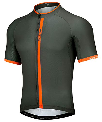 Wantdo Cycling Jersey for Men Biking Shirt Short Sleeve with 3 Rear Pockets Grey Orange