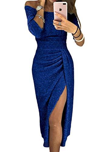High Slit Off Shoulder Dresses for Evening Party Prom Plus Size Blue Formal 2018 Elegant Half Sleeves Sparkling Wedding Dress X-Large (US 16-18) Blue