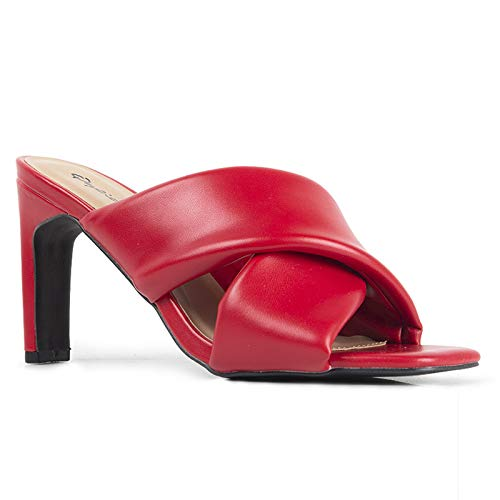 Qupid Kaylee Mules for Women - Red Faux Leather Slip On Heeled Sandals - 6