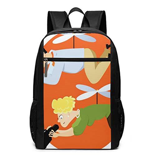Schulrucksack Hubschrauber Eltern schweben, Schultaschen Teenager Rucksack Schultasche Schulrucksäcke Backpack für Damen Herren Junge Mädchen 15,6 Zoll Notebook