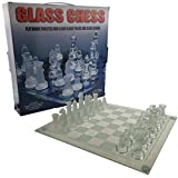 GKanMore Glass Chess Set, 10x10 Inch Chess Board and 32 Frosted Clear Glass Pieces, Chess Game Set for Kids Adults Beginners