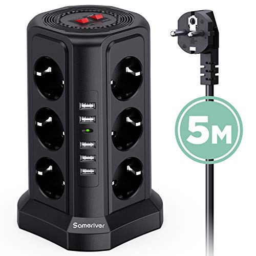 Sameriver 12 Fach Steckdosenleiste-230V / 10A Mehrfachsteckdose mit 5 USB Steckdosenturm, Multi Steckdosen Steckerleiste, Überspannungsschutz und Kurzschlussschutz (mit 2 Schalter und 5m Kabel)