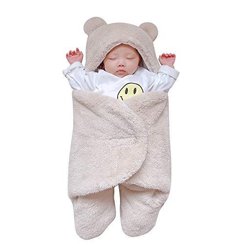 Kobay Kobay Neugeborenen Baby Mädchen Jungen Nette Baumwolle Solide Weichem Plüsch Schlafdecke Wrap Swaddle(0-3M,Khaki)
