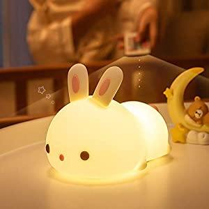 Kids Night Light – Cute Bunny Kids Night Light -Silicone Snoring Cat Pets Nursery Color Changing LED Decor Sleep Lamp Lights with Touch Sensor and Remote Control for Kids, Childrens, Toddler, Baby