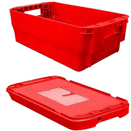 Postkiste, Kunststoffbehälter, Stapelbox inkl. Deckel, stapelbar, Höhe 15 cm, NEUWARE! (rot)