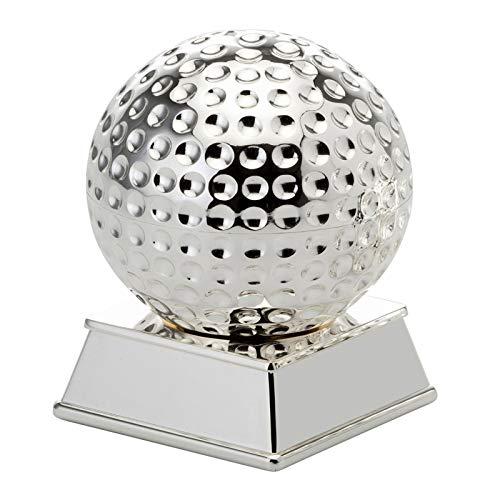 versilberter Briefbeschwerer Motiv Golfball mit Sockel Ø 7 cm Höhe 11 cm