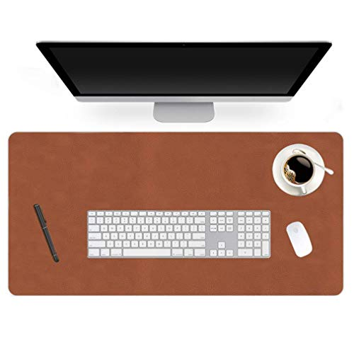 24 X 60 Inch XL Desk Mat Desktop Protector Non-Slip PU Leather Desk Pad Blotter Laptop Computer Gaming Keyboard Mouse Pad Writing Mat Desk Cover for Women Men Kids Girls Rctangular Waterproof Brown
