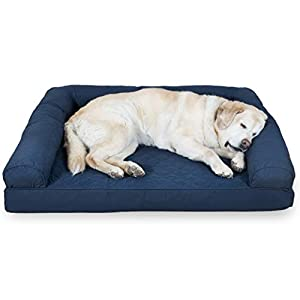 Furhaven Pet Dog Bed – Cooling Gel Memory Foam Quilted Traditional Sofa-Style Living Room Couch Pet Bed with Removable Cover for Dogs and Cats, Navy, Jumbo