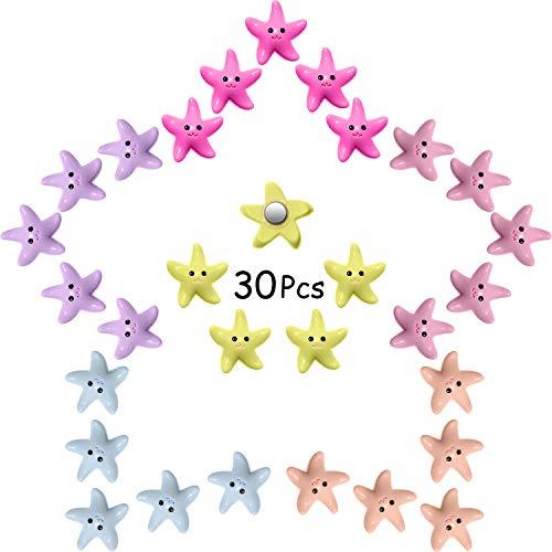 30 Pieces Starfish Magnets Fridge Magnets Multicolor Fridge Sticker Magnets for Refrigerator Furniture Whiteboard Decoration (Random Color)