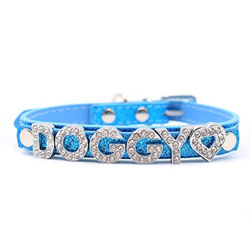 Gulunmun Carta de Moda Personalizada DIY Nombre Collares de Perro Bling Collar de Perro para Mascotas con Hebilla de Diamantes de imitación Cachorro Gato Letras encantos para Teddy-Blue_S