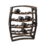 DBSCD Sostenedor Vino Madera sobremesa,botellero Madera granen Forma Barril,Estante pie pie para decoración del hogar,Bar,Bodega,sótano,despensa