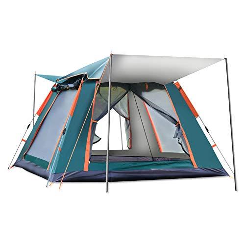 Ergocar Tienda de Campaña 3-4 Personas Tienda de Camping Ligero Impermeable Anti Viento Exteriores Tienda de Campaña para Senderismo Festival Camping Mochila (Verde, Pegamento de Plata)
