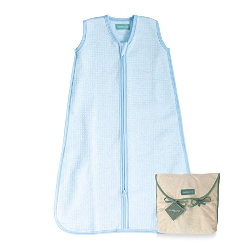molis&co. Saco de Dormir para bebé. Ideal para Entretiempo. 1.0 TOG. Cloud - Azul. 18 a 36 meses. Suave y acogedor. 100% algodón orgánico (GOTS), ligeramente acolchado.