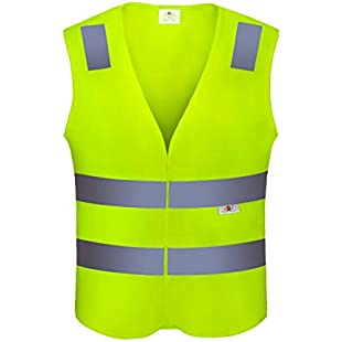 Kyerivs Reflective Safety Vest, Neon Yellow Velcro High Visibility Breathable Mesh Vest:Comoparardefumar