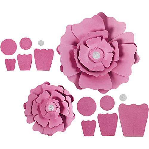 Papierblumen Rose, D: 15+25 cm, 230 g, 2 Stück