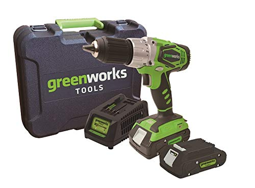 Greenworks Akkubohrschrauber im Koffer 24V inkl. 2 Akkus 2 Ah und Ladegerät