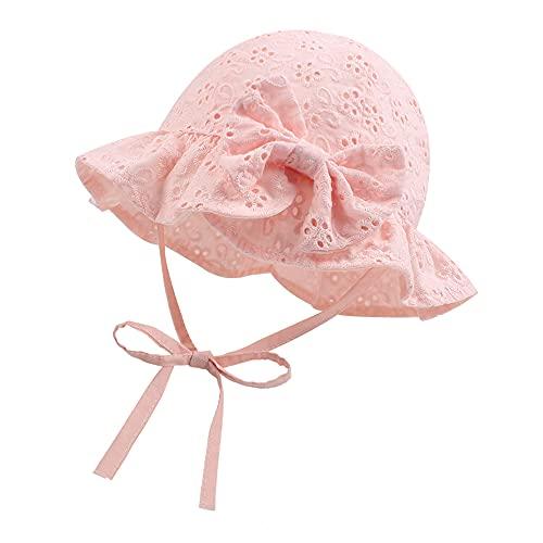 XIAOHAWANG Sommerhut Baby Mädchen UV Schutz Sonnenhut Mütze Baby Sommer Mützen Baumwolle Mit Schleife und Bindebändern (Rosa, 48cm(1-2 Jahren))