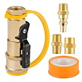 """Crazepony Propane RV Quick Connect Fittings - 1/4 Pipe Brass Grill Adapter Regulator with 1/4"""" Brass Pipe & Male NPT & Female NPT & Sealing Tape for BBQ 5 PCS"""