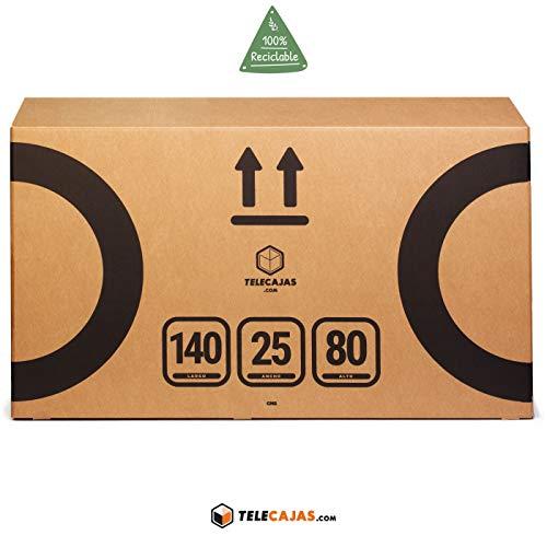 TeleCajas® | Caja de Cartón para Bicicleta Adulto | Doble Pared - Dobles Solapas - Asas Laterales | Cartón Reforzado | Medidas: 140 x25 x 80 cms