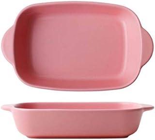 YARNOW Ceramic Bakeware Rectangular Baking Dish Lasagna Pans Casserole Dish Baking Pan (Pink)