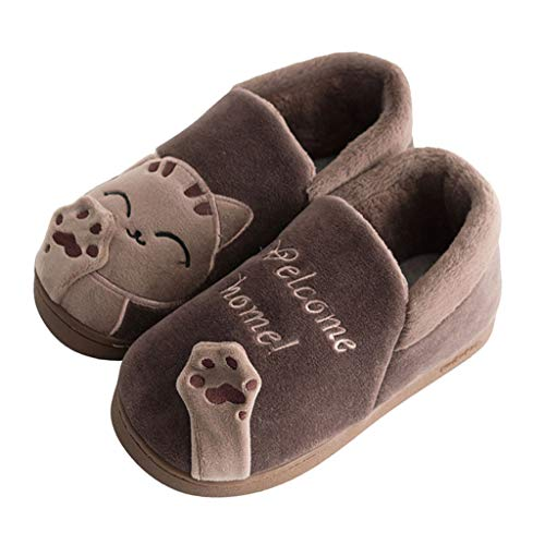 Chaussons Enfant Hiver Chaud Pantoufles Maison Garçon Fille Chaussures Plateforme Antidérapant Chaussures Intérieur Doux Chaussures de Coton Chat Mignon Tyoby(café,24)