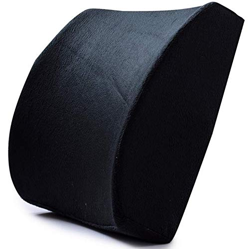 Ecloud Shop Back Cushion Memory Foam Lumbar Support Pad with Adjustable Strap Relieve Back Pain Pillow Suitable for Office ChairBlack